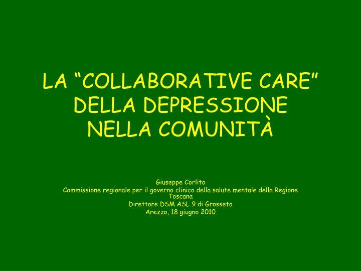 la collaborative care della depressione nella comunit