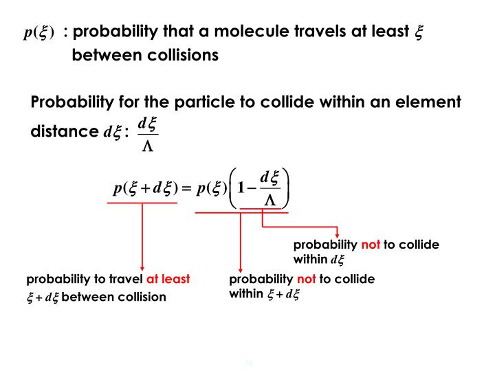 : probability that a molecule travels at least