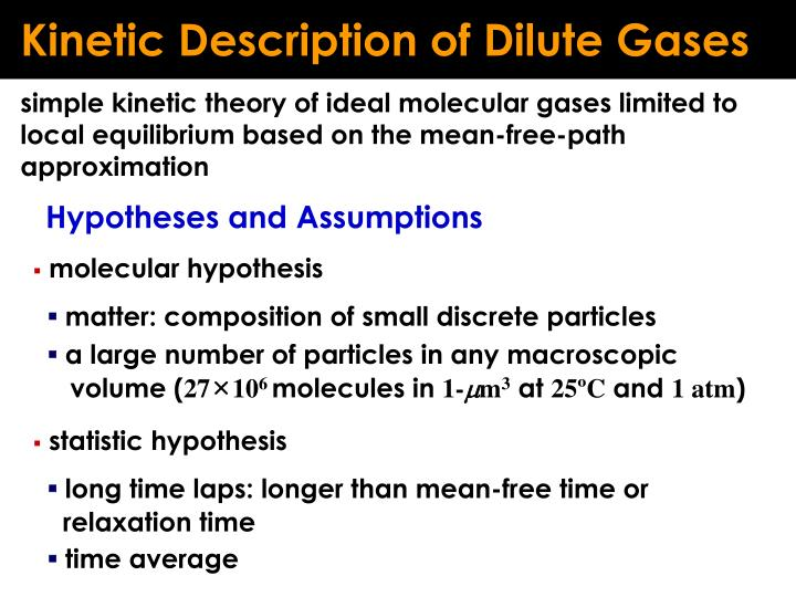 Kinetic Description of Dilute Gases