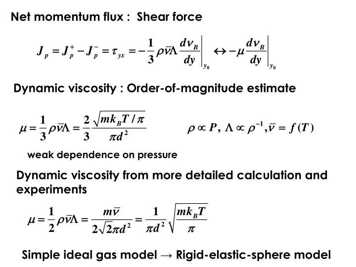 Net momentum flux :  Shear force