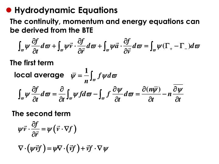 Hydrodynamic Equations