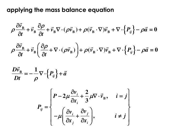 applying the mass balance equation