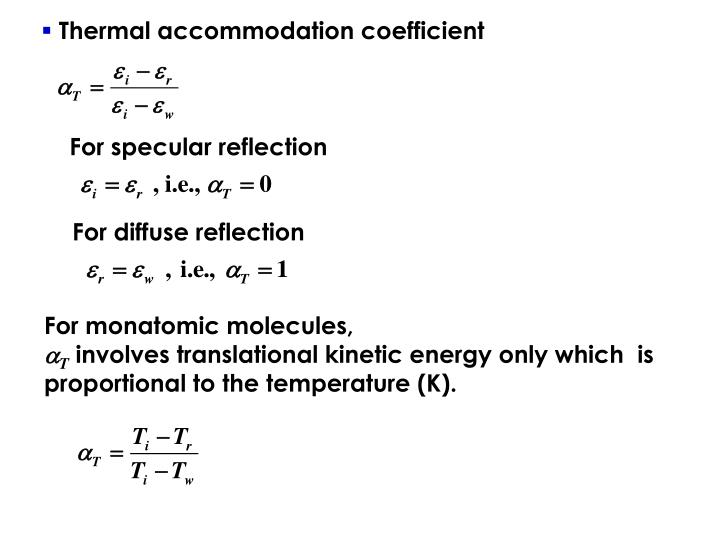 Thermal accommodation coefficient