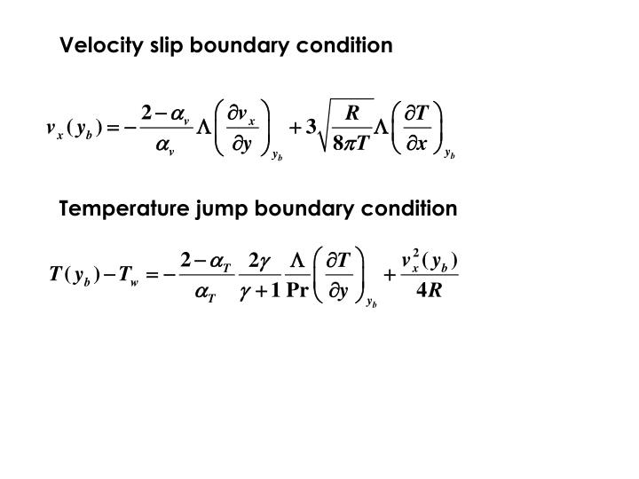 Velocity slip boundary condition