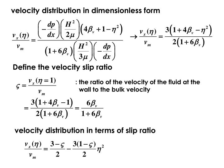 velocity distribution in dimensionless form