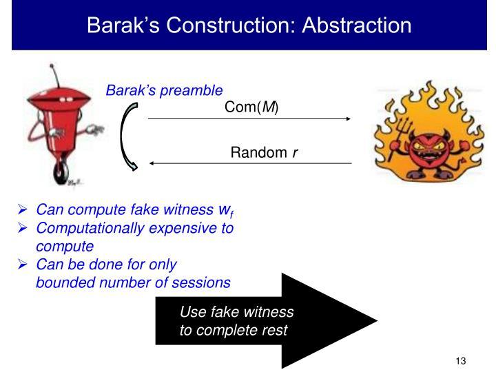 Barak's Construction: Abstraction