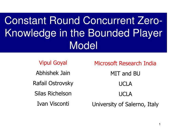 Constant Round Concurrent Zero-Knowledge in the Bounded Player Model