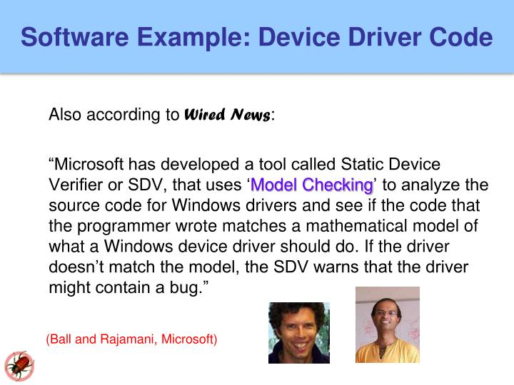 Software Example: Device Driver Code