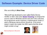 software example device driver code