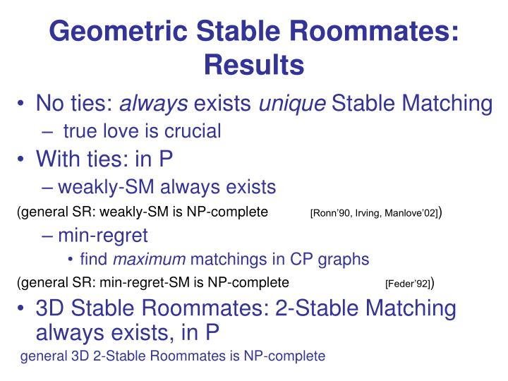Geometric Stable Roommates: Results