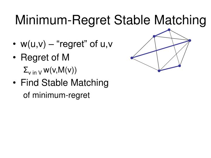 Minimum-Regret Stable Matching