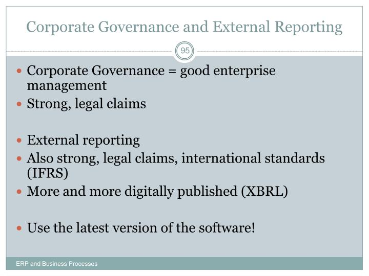 Corporate Governance and External Reporting