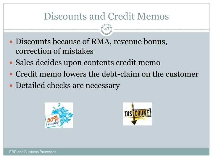Discounts and Credit Memos