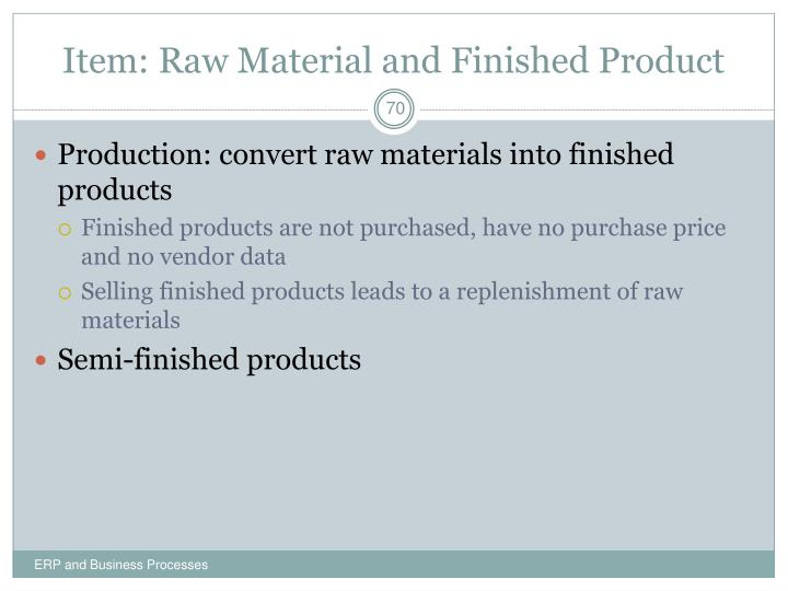 Item: Raw Material and Finished Product