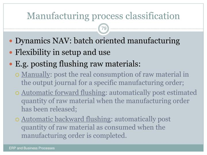 Manufacturing process classification