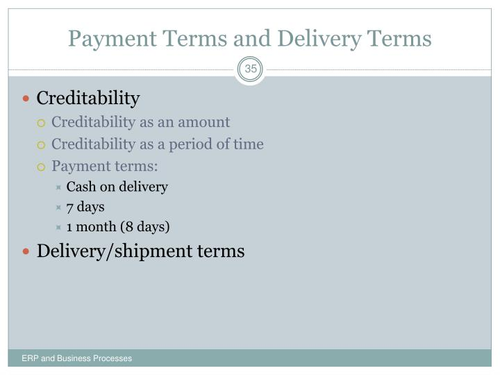 Payment Terms and Delivery Terms