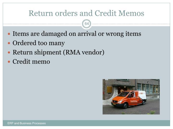 Return orders and Credit Memos