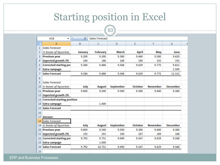 Starting position in Excel