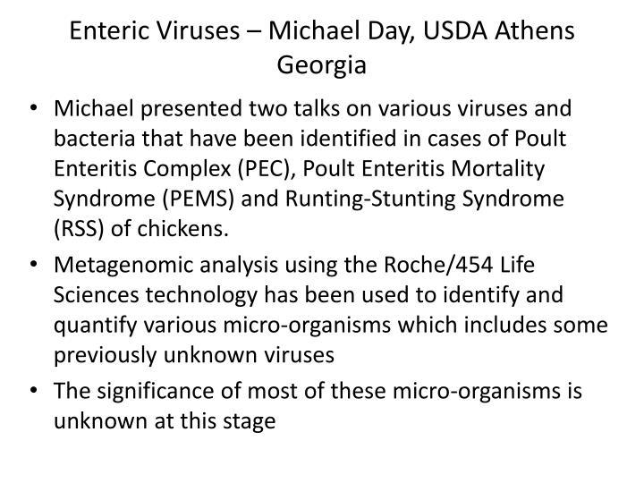 Enteric Viruses – Michael Day, USDA Athens Georgia