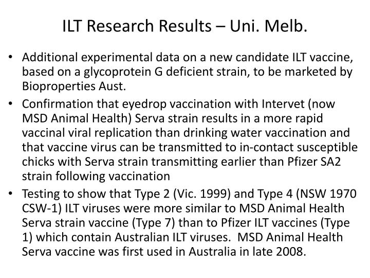 ILT Research Results – Uni. Melb.