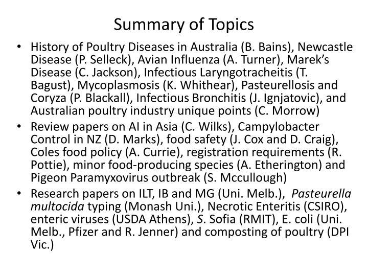 Summary of Topics