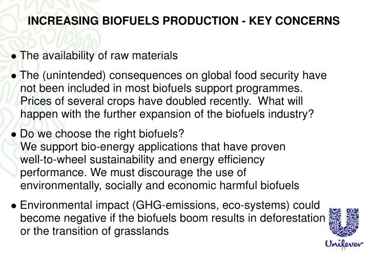 INCREASING BIOFUELS PRODUCTION - KEY CONCERNS
