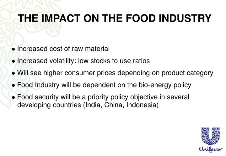THE IMPACT ON THE FOOD INDUSTRY