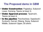 the proposed dams in gbm