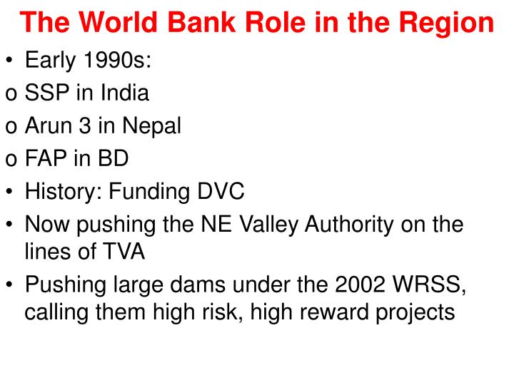 The World Bank Role in the Region