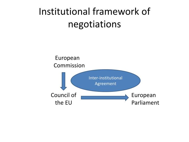 Institutional framework of negotiations