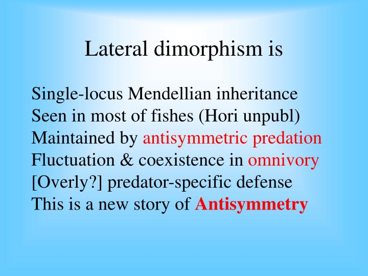 Lateral dimorphism is