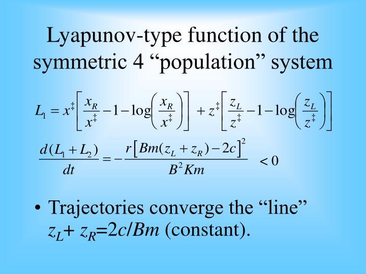 "Lyapunov-type function of the symmetric 4 ""population"" system"