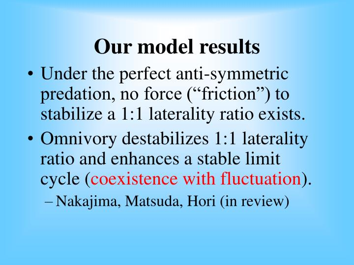 Our model results