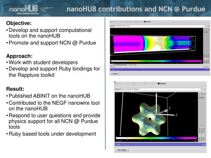 nanoHUB contributions and NCN @ Purdue