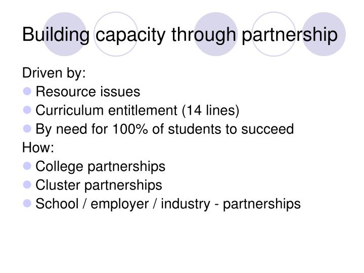 Building capacity through partnership