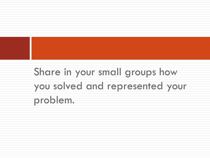 Share in your small groups how you solved and represented your problem.