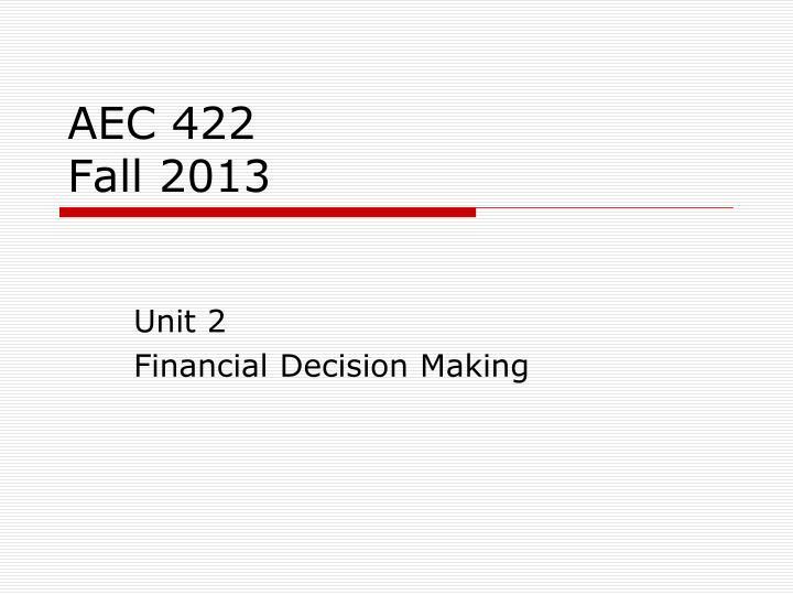 aec 422 fall 2013