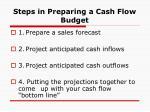 steps in preparing a cash flow budget