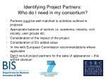 identifying project partners who do i need in my consortium