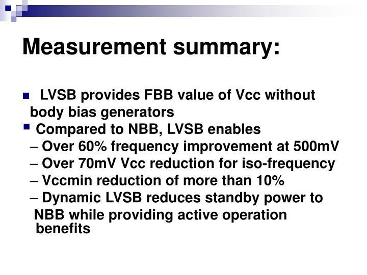 Measurement summary: