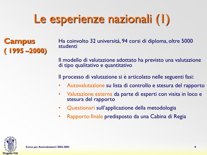 Le esperienze nazionali (1)