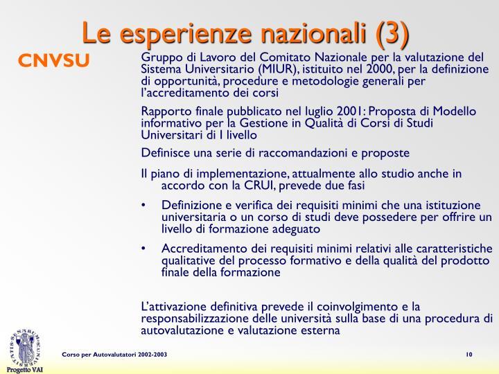 Le esperienze nazionali (3)