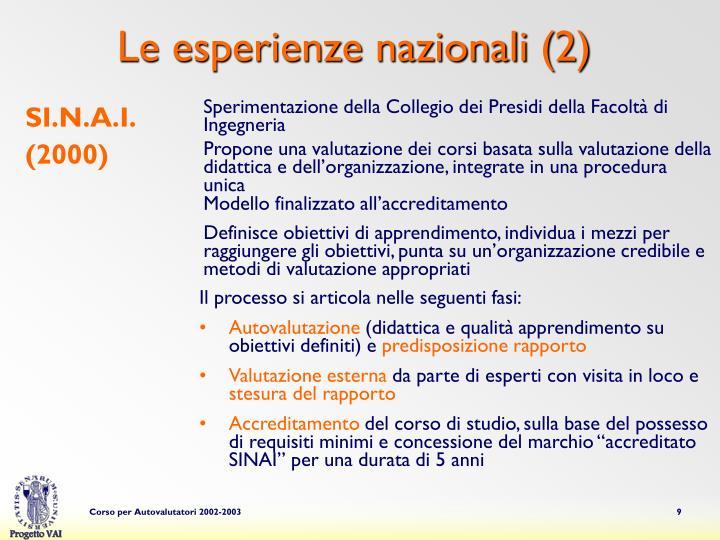 Le esperienze nazionali (2)