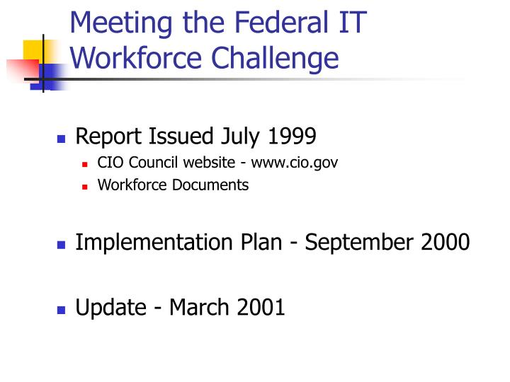 Meeting the Federal IT Workforce Challenge