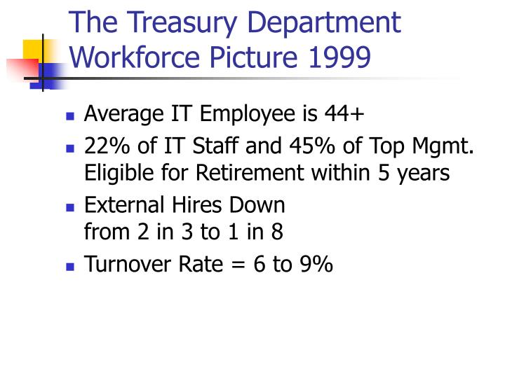 The Treasury Department Workforce Picture 1999