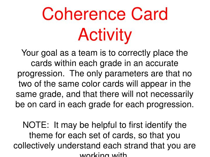 Coherence Card Activity