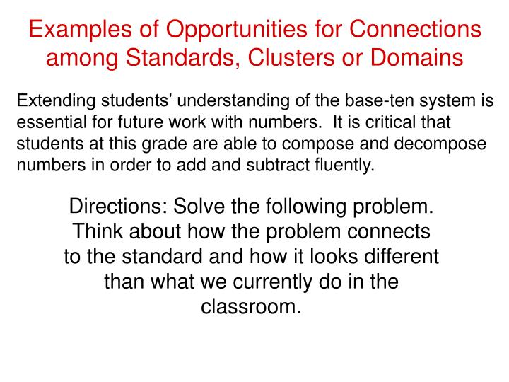 Examples of Opportunities for Connections among Standards, Clusters or Domains