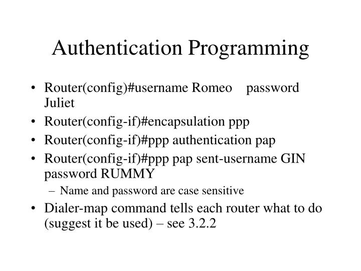 Authentication Programming