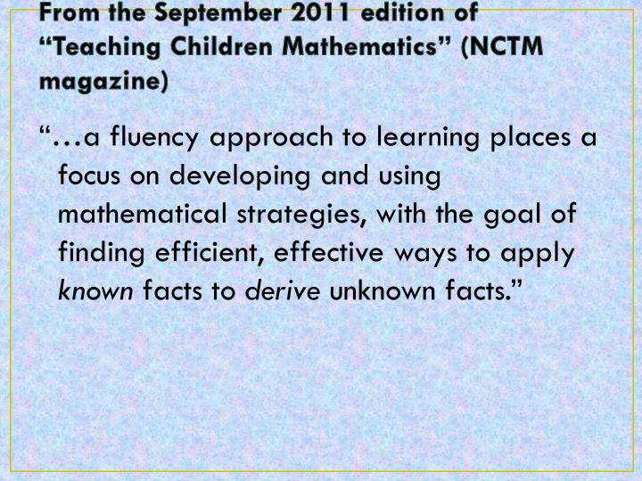 "From the September 2011 edition of ""Teaching Children Mathematics"" (NCTM magazine)"