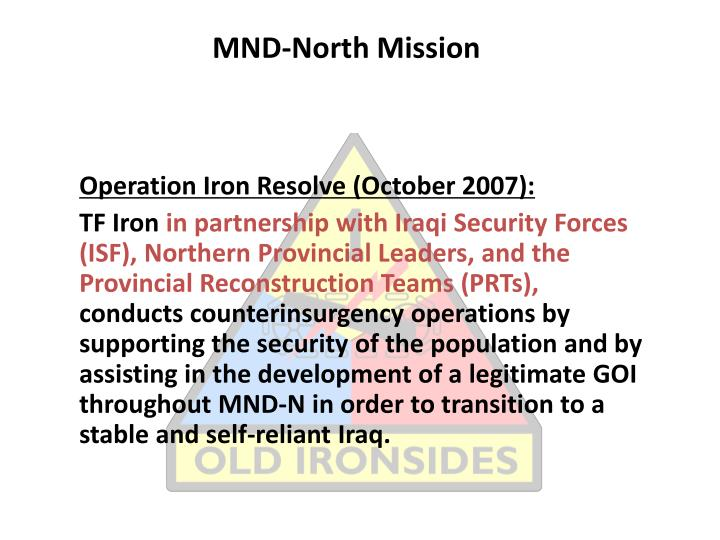 mnd north mission